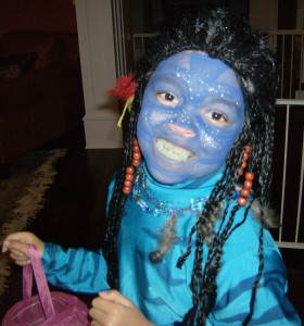 The Youngling as Neytiri for Halloween