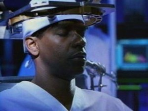 Denzel Washington as good guy Lt Parker Barnes in Virtuosity.