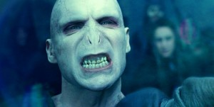 Ralph Fiennes is scary indeed as Lord Voldemort in Harry Potter.