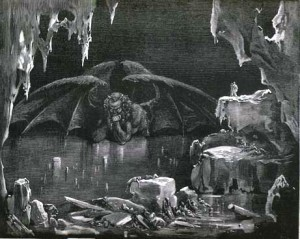 Gustave Dore illustrating Canto XXXIV of Divine Comedy Inferno by Dante Alighieri